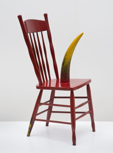 Forney Chair, 2001, Wooden chair, cow horn, lacquer, 103,51 x 43,18 x 40,64 cm