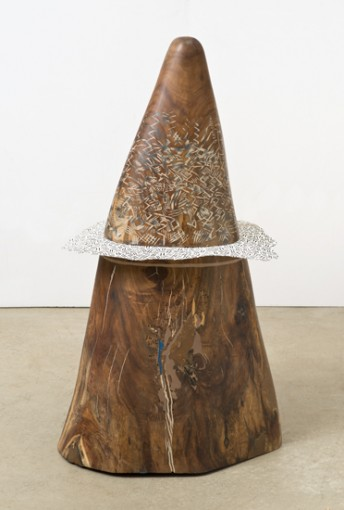 Thoughts of July, 2004, Wood, paper, Bondo, paint, 104,14 x 60,96 x 45,72 cm