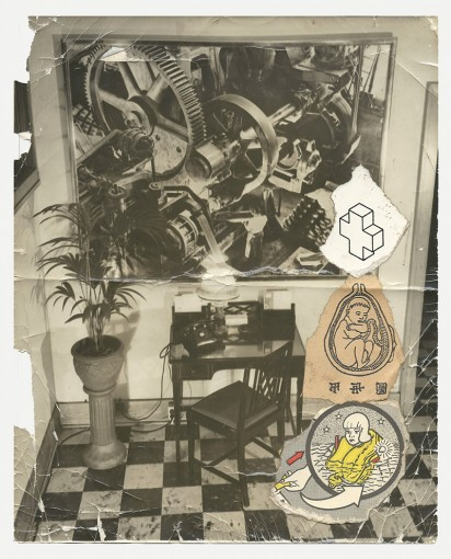 The Outer Office, 1980, collage on paper, white wooden frame, 25,4h x 20,3w cm unframed, 36h x 31w x 4d cm framed