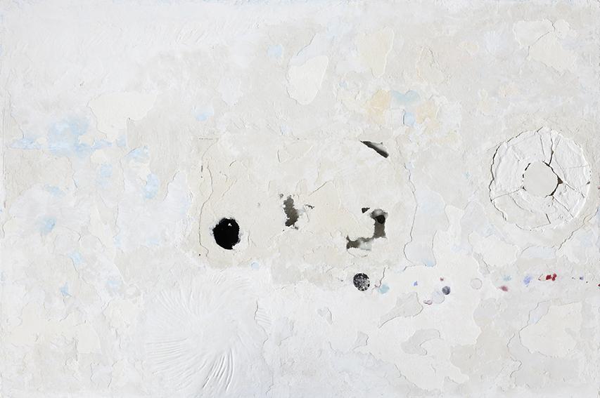 Franco Guerzoni, Strappo d'Affresco, 2017 Stucco, gesso, pigmenti, vetro su tavola / stucco, chalk, glass on board 100 x 150 cm